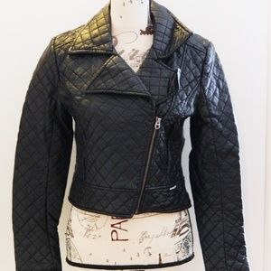 Members Only Quilted Faux Leather Jacket Sz S